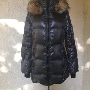 S13 Down Puffer Jacket with Faux Fur Hood Small